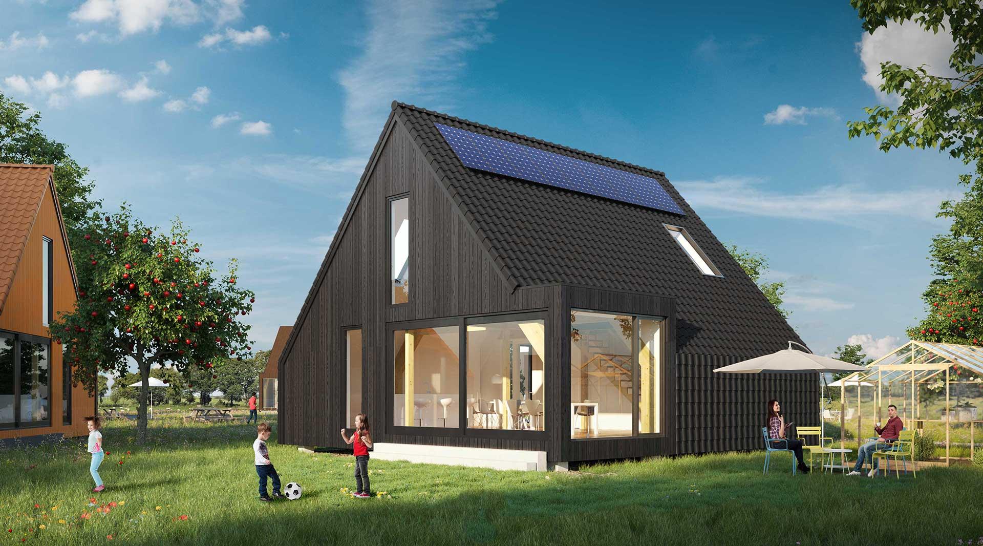 Houten huis de nederzetting for Huis zelf bouwen prijzen