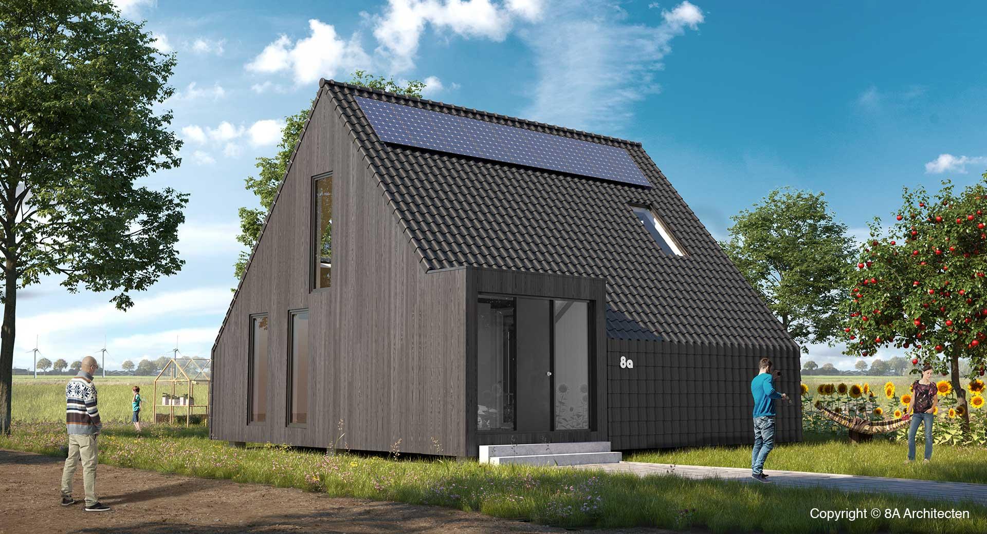 Huis met puntdak de nederzetting for Bouwkosten huis